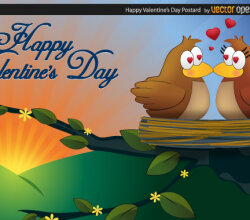 Happy Valentine's Day Postcard Vector