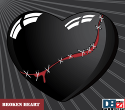 Stitched Broken Heart on Sunburst Background Vector