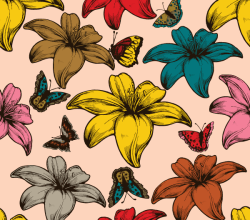 Free Vector Flowers and Butterflies Seamless Pattern