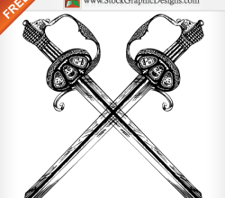 Hand Drawn Heraldic Sword Free Vector Illustration
