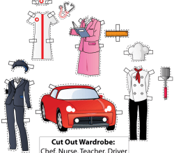 Cut-Out Wardrobe. Chef, Nurse, Teacher, Driver