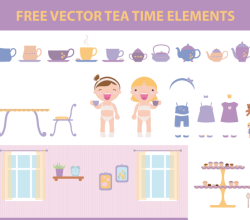 Vector Tea Time Elements