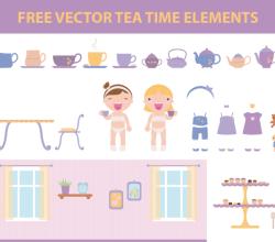 Vector Tea Time Elements