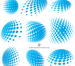 Vector Blue Halftone Elements Graphics