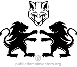 Vector Heraldic Lion and Fox