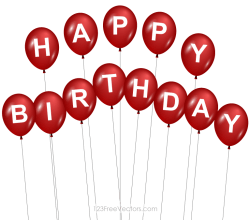 Red Happy Birthday Balloons Image