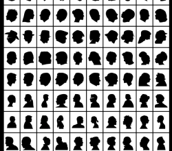 100 Side Face Portraits Silhouettes Vector