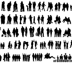 Group of People Silhouettes Free Vector