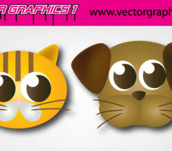 Cute Dog And Cat Vector Graphics