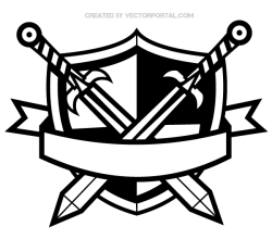 Heraldic Shield with Cross Swords and Banner Vector