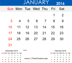 January 2016 Calendar Printable