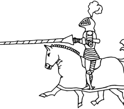 Vector Medieval Knight on Horse Image