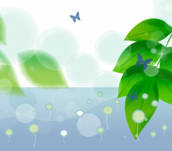 Vector Nature Background Butterfly and Green Leaves