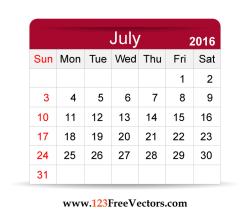 Free Vector 2016 Calendar July
