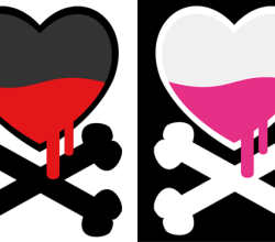 Vector Heart with Crossbones