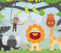 Cartoon Jungle Animals Free Vector
