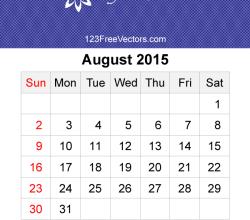 August 2015 Calendar Template Vector Free