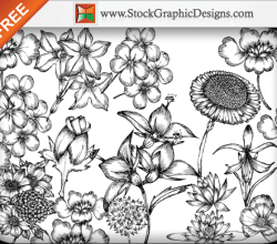 Hand Drawn Flowers Free Vector Pack