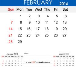 February 2016 Calendar Printable
