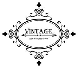 Decorative Oval Vintage Frame Vector Graphics
