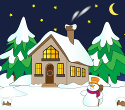 Vector Christmas Winter Landscape with House In Snow, Snowman, Pine Trees