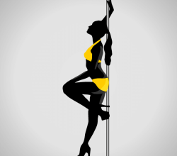 Young Women Dancing a Striptease Vector Silhouette