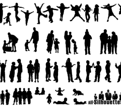 Children, Kids, Teens Silhouettes Free Vector