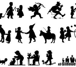 Children Playing Silhouettes Vector Art