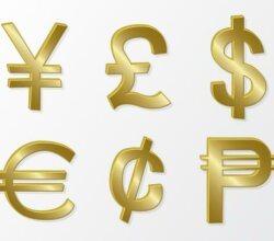 Golden Currency Symbols Free Vector
