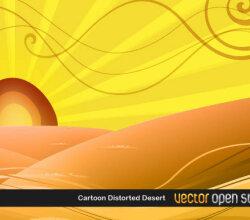 Vector Desert Sunset Scene