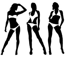 Women in Bikini Silhouettes Vector