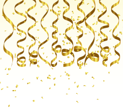 Gold Streamer and Confetti Birthday Party Background Graphics