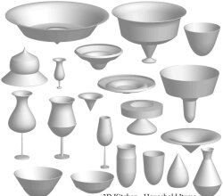 Free 3D Kitchen Items Vector