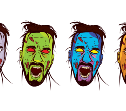 Vector Zombie Face Color Image