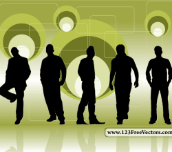 Retro Background With Men Silhouettes