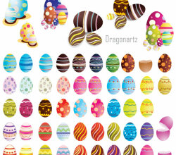 Colorful Decorated Easter Eggs Vector Pack