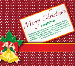 Merry Christmas Gift Card with Gold Bell on Red Background Vector Illustration