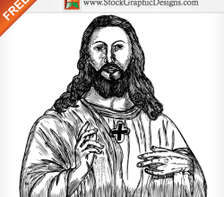 Jesus Christ Hand Drawn Free Vector
