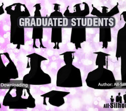 Graduating Students Free Vector Silhouettes