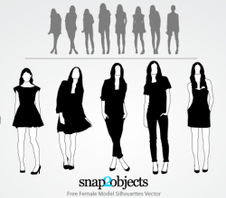 Female Model Silhouettes Free Illustrator Vectors Pack