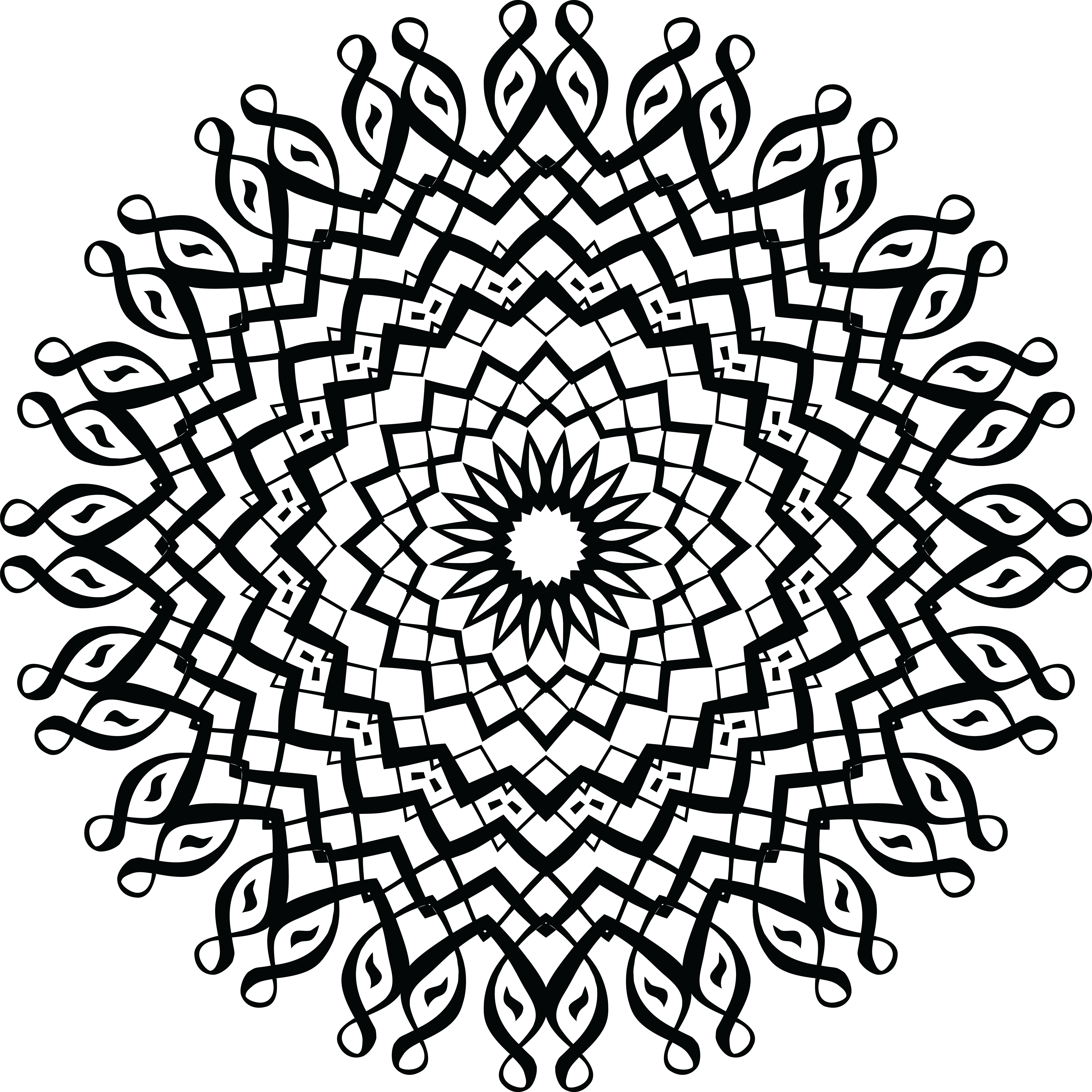 Free Clipart Of A Black And White Calligraphic Mandala