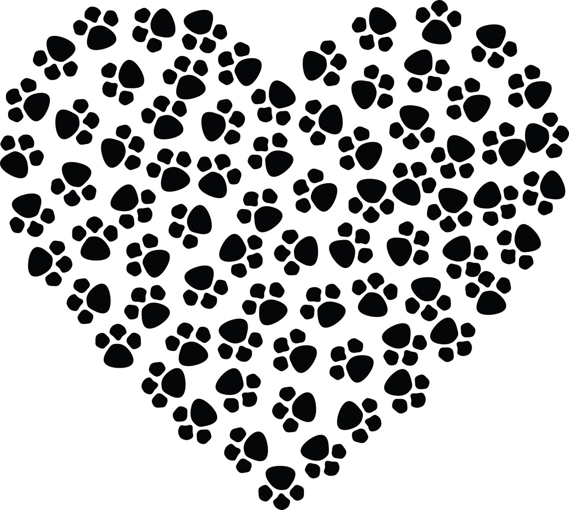 Download Free Clipart Of A paw print heart