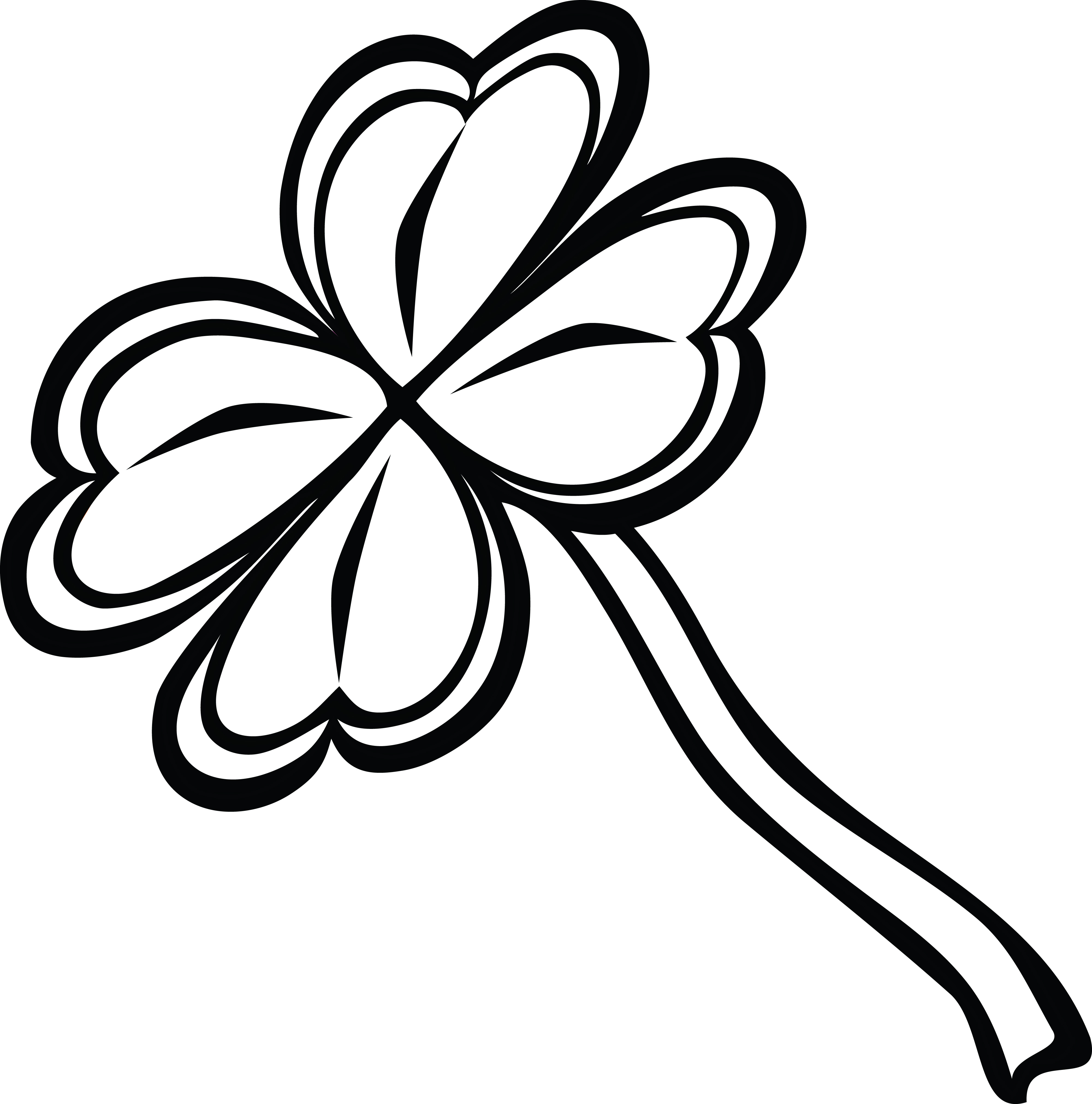 Free Clipart Of A Black And White St Paddy S Day 4 Leaf