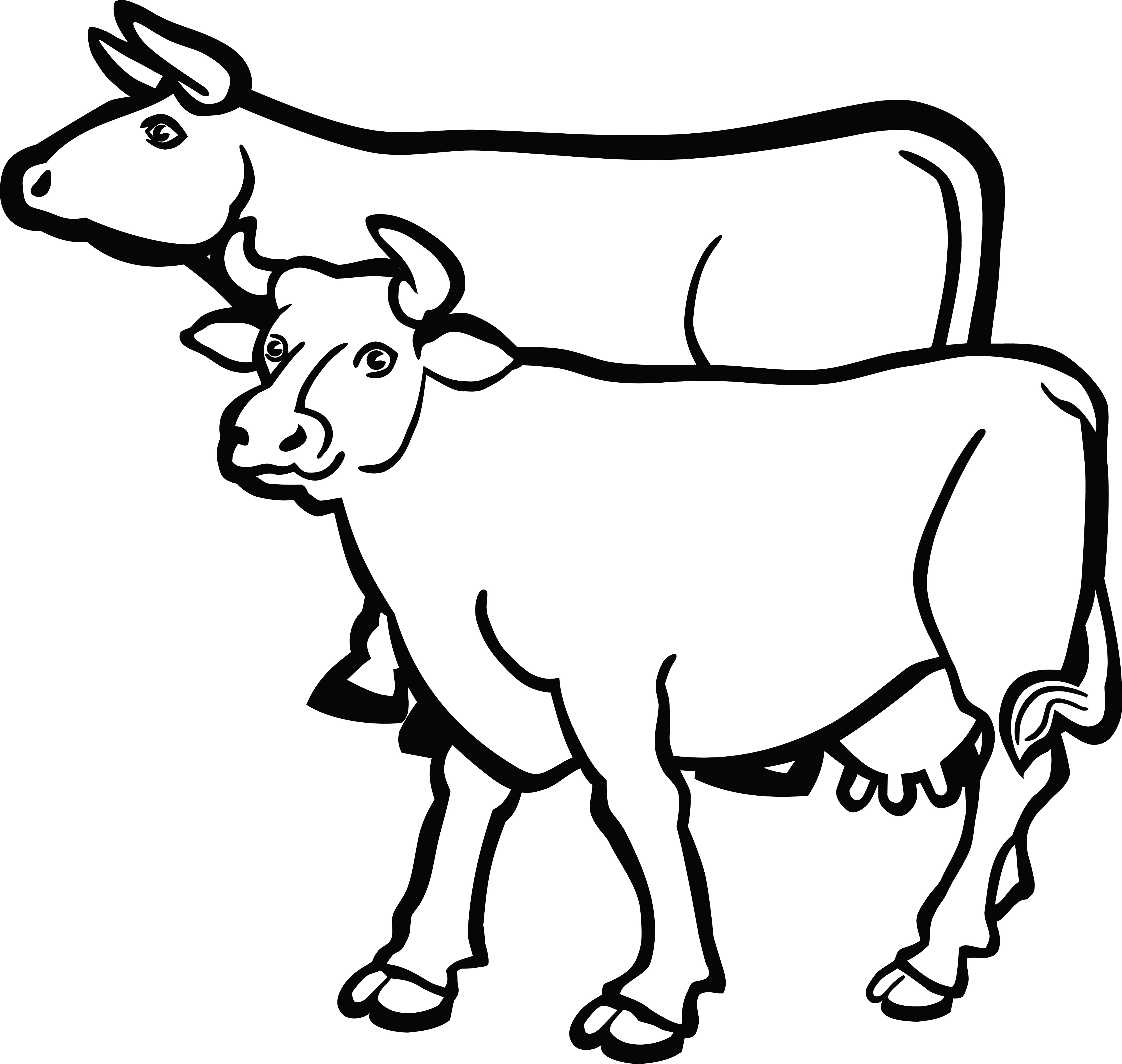 Free Clipart Of A Pair Of Cows