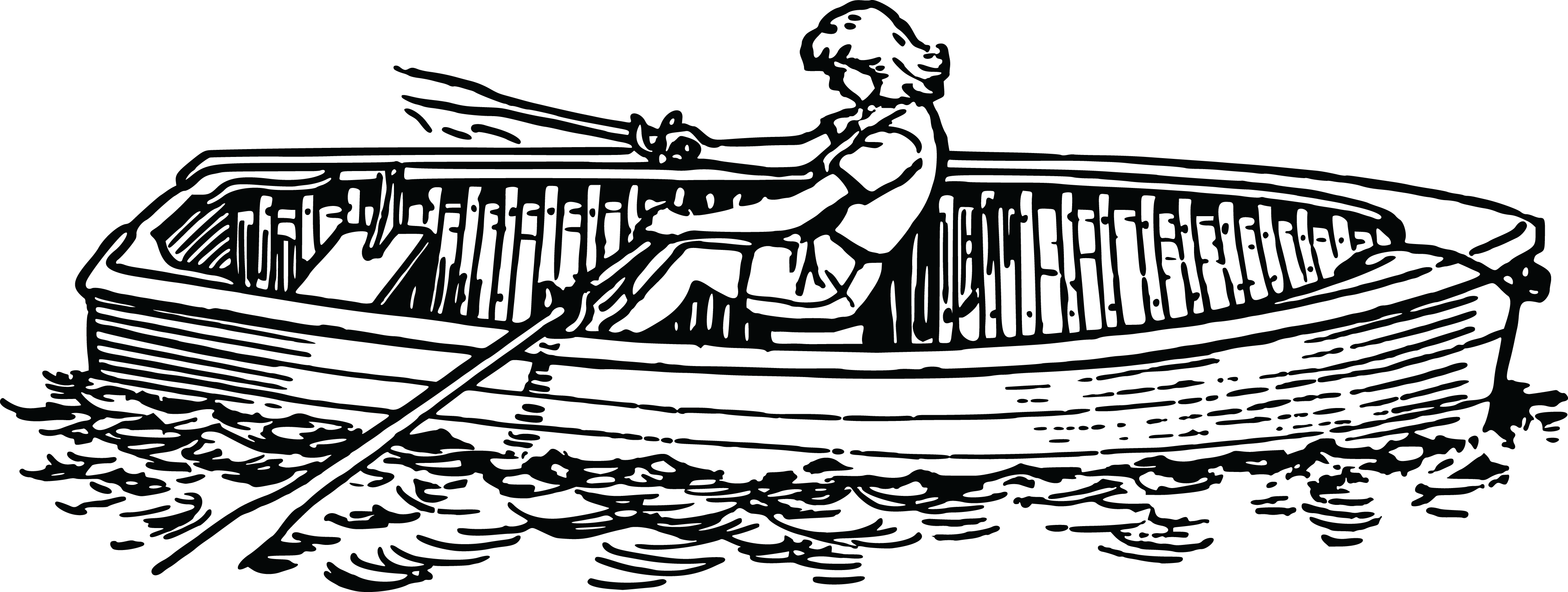 Free Clipart Of A Woman Rowing A Boat
