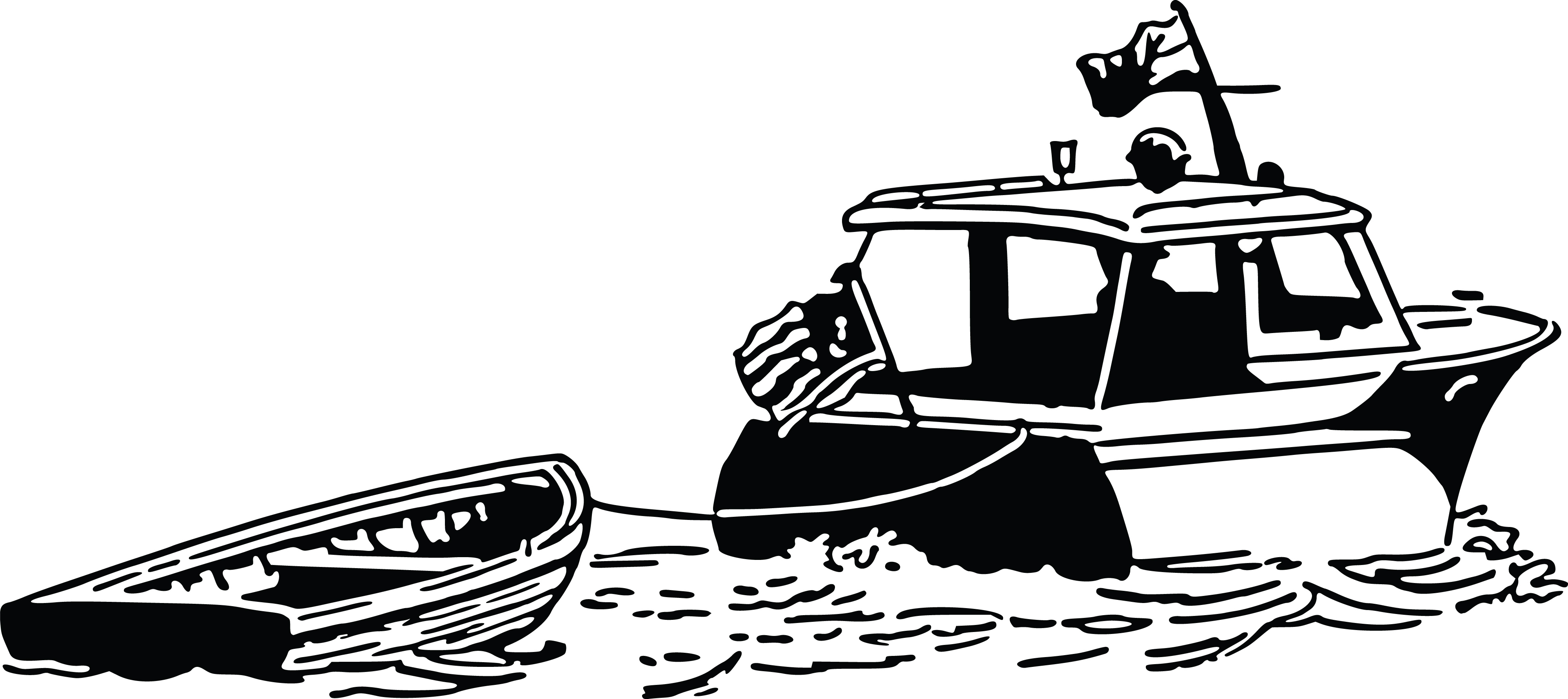 Free Clipart Of A Boat Pulling Another