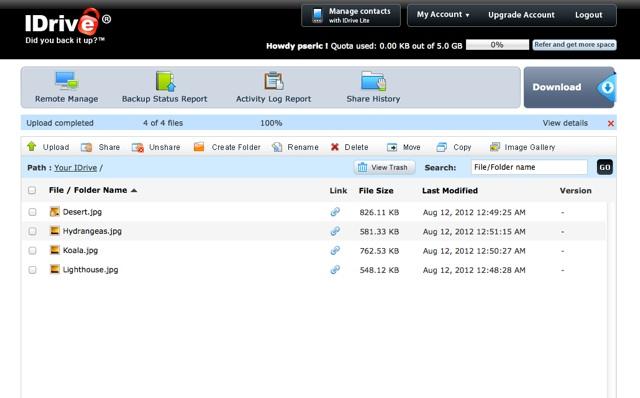IDrive 免費 5GB 線上同步備份服務,支援 PC、Mac、iPhone(最高可到 50GB)