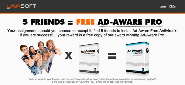 邀請好友使用 Ad-Aware,免費升級 Ad-Aware Pro 一年份(價值 $48 美元)