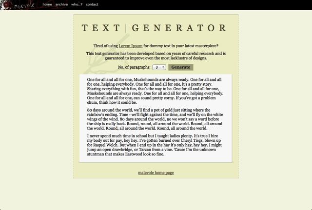 10. Malevole Text Generator