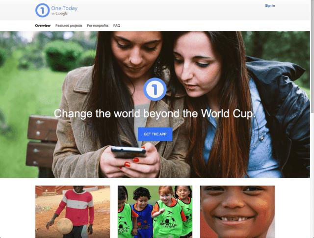 One Today:Google 慈善募款計畫,捐贈 1 美元也能改變世界